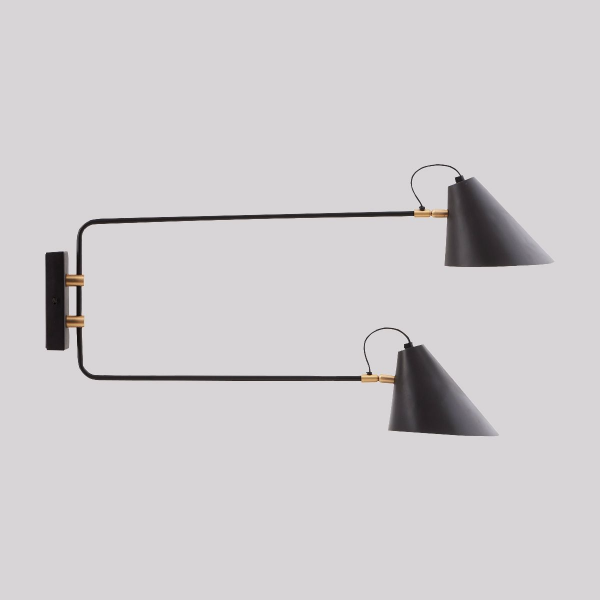 Club Retro Swing Arm Wall Lamp Double Black And Br