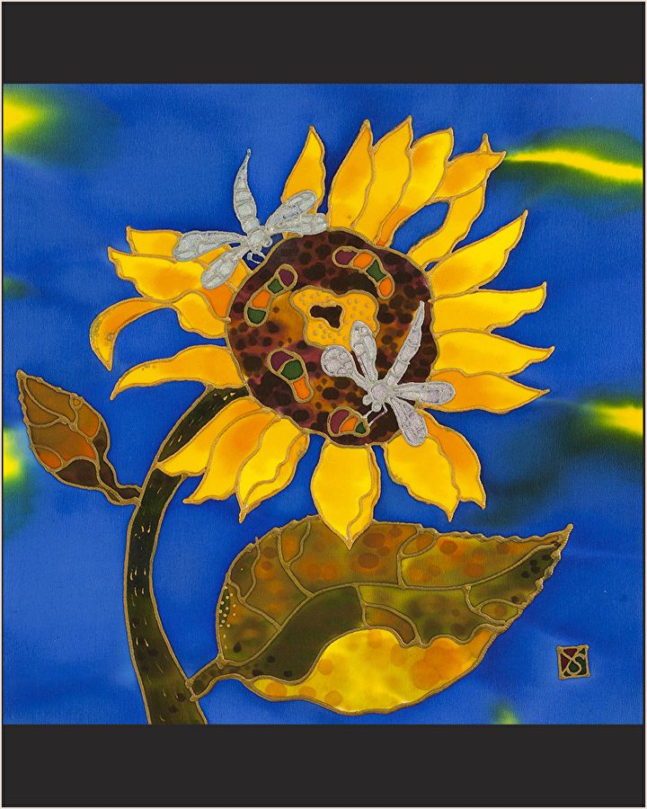"Sunflowers And Dragonflys (LFLS-1601) by Yelena and Stanislav Sidorov Painting on silk ~ 12"" x 12"""