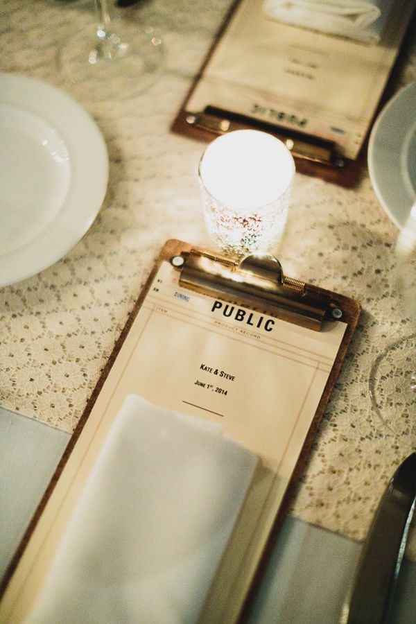 Soho wedding with modern and industrial touches menus for Idee menu reception amis