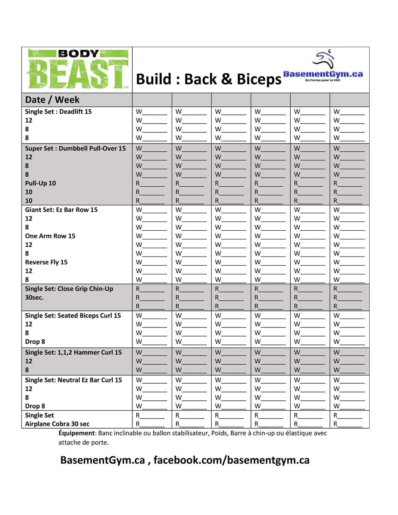 Body Beast Build Back Amp Biceps Worksheet