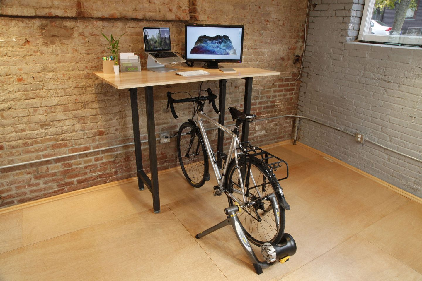 Furniture Accessories Small Wood Top Standing Desk With Creative Metal Bike Rack