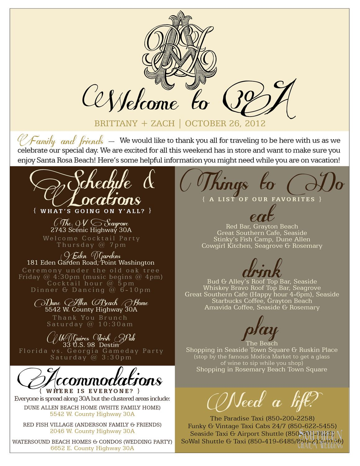 welcome bag information sheet 55 on etsy - Glass Sheet Cafe 2015