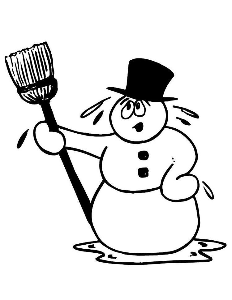 Melting Snowman Coloring Pages
