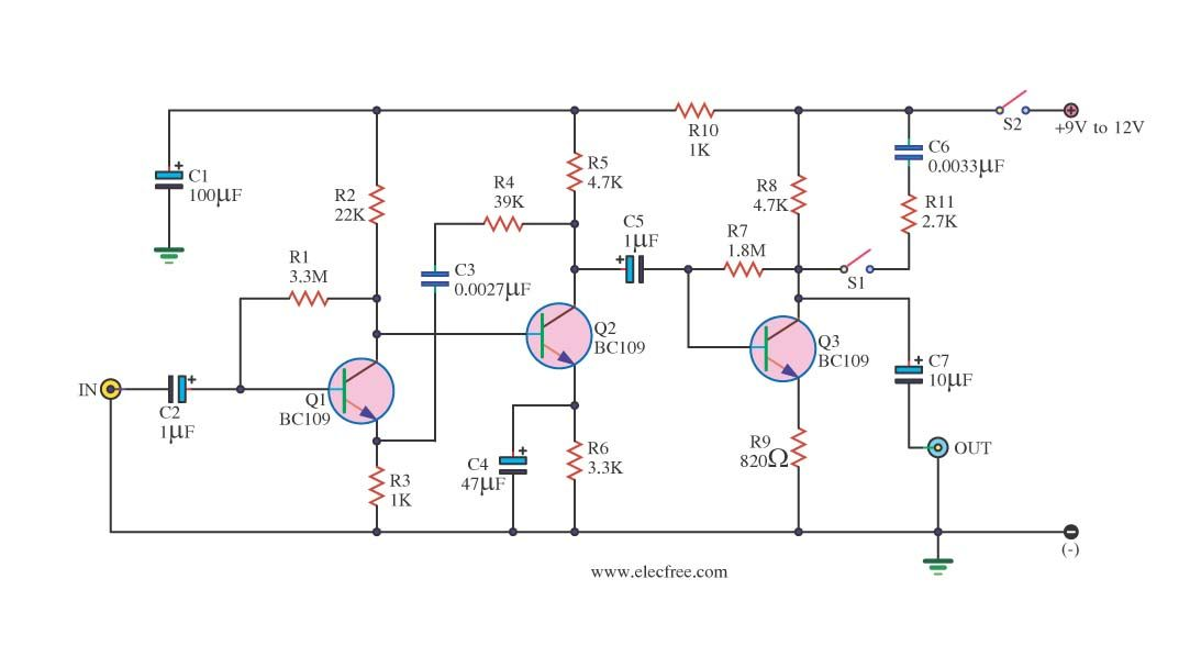4 Preamplifier circuits using transistors - Eleccircuit.com ... on transistor phaser schematic, transistor tremolo schematic, transistor amplifier schematic, transistor amp schematic, transistor design, transistor flanger schematic, transistor switch schematic, transistor radio schematic,