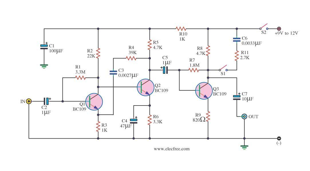 4 Preamplifier Circuits Using Transistors