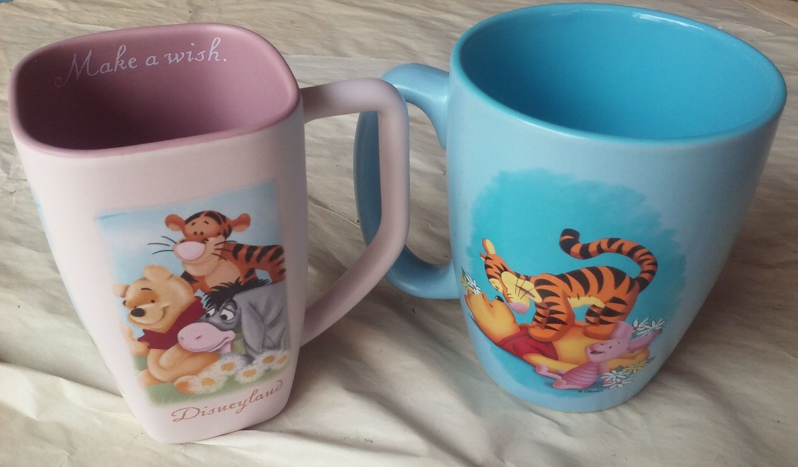 Two Disney Winne The Pooh Coffee Mugs Blue Xl Pink Tall Square