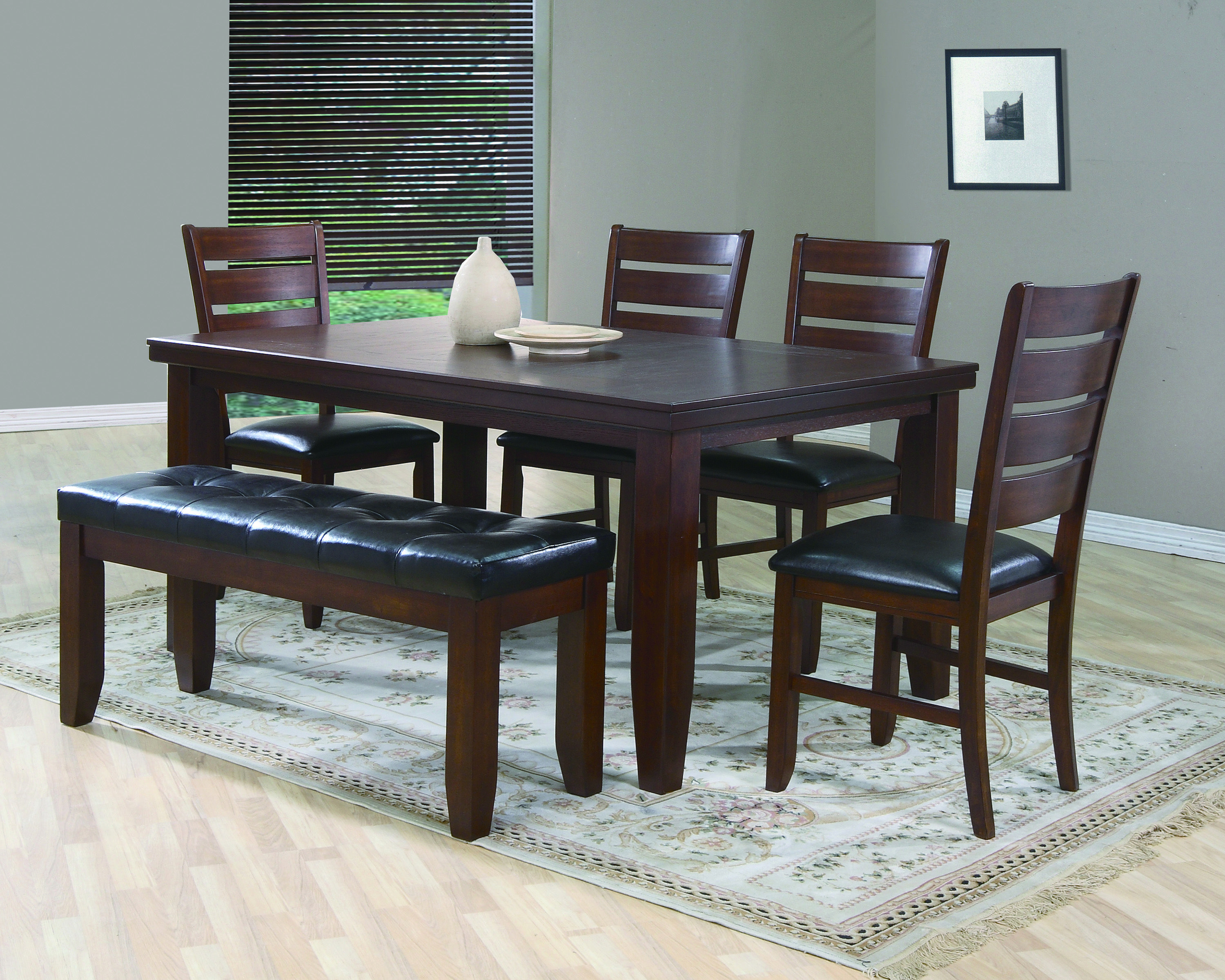 Dark Wood Dining Set With Bench Solid Wood Dining Table Dining