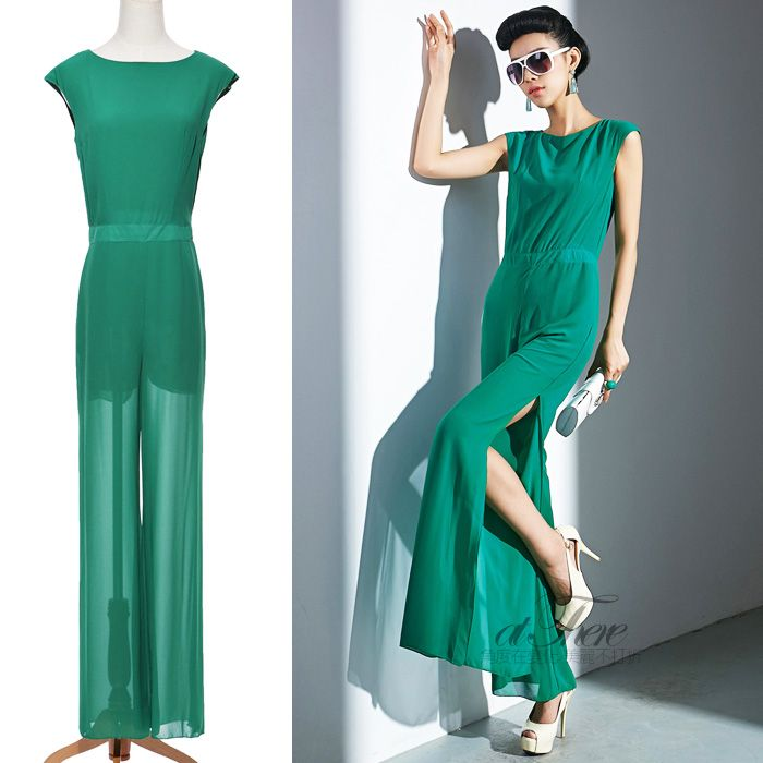 2014 hot sell gorgeous placketing o-neck solid color elegant jumpsuit trousers jumpsuit 60300 women's