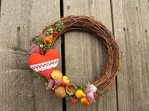 amadea / Vianočný venček so srdiečkom SKLADOM