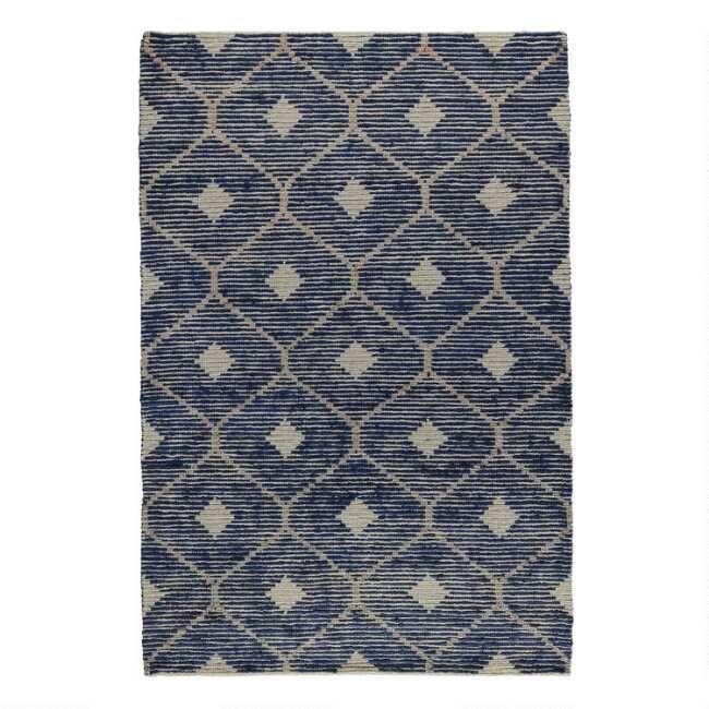 Indigo Blue And Tan Lattice Jute And Wool Rustica Area Rug 8 X