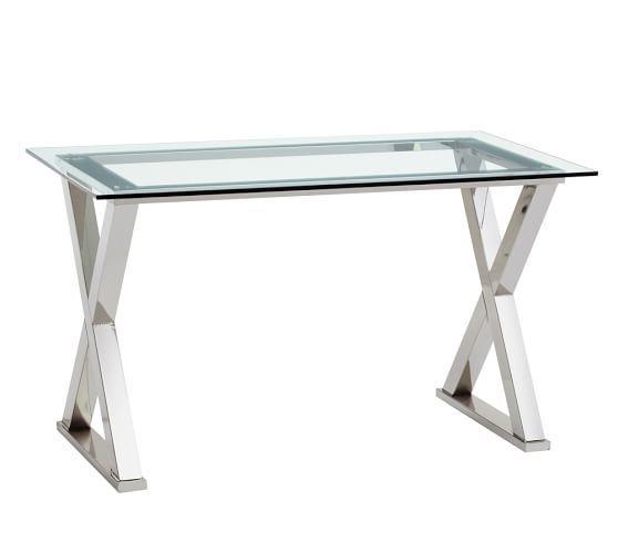 Ava Metal Desk Metal Desks Glass Desk Glass Top Desk