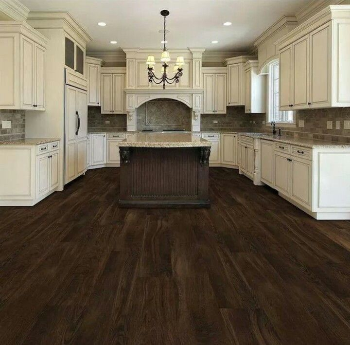 Beautiful Kitchen. Dark Chocolate Wooden Floors.