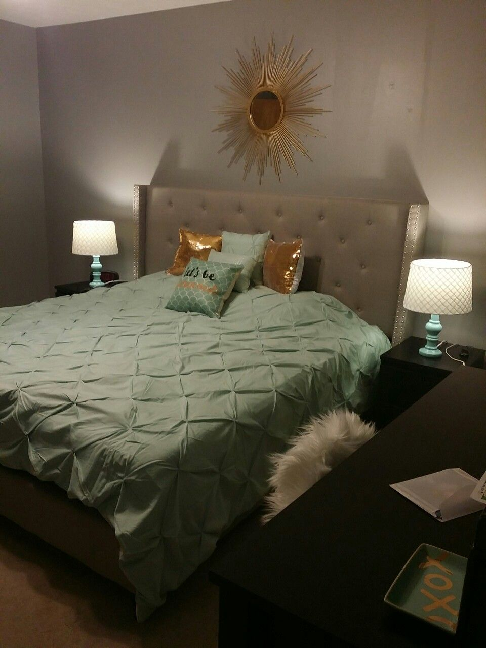 mint gold and grey bedroom blended neutral black and white into