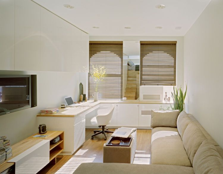 Design Ideas For Small Spaces Living Rooms Glamorous Allinone Room Lots Of Desk Space Tv Big Sectional Sofa Decorating Design