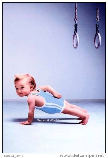Funny Cute Baby Boy Fitness Postcard One Hand Pushup ...