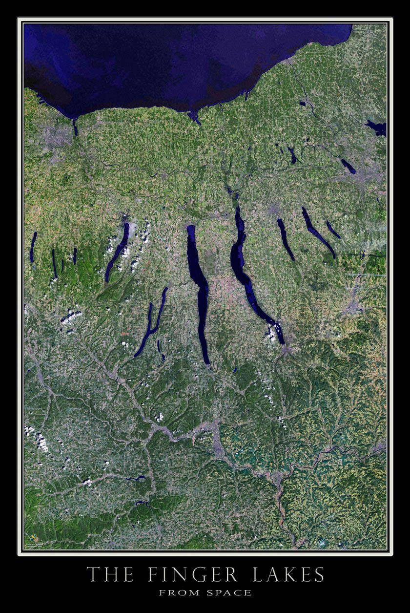 Finger Lakes Region New York Satellite Poster Map Finger Lakes - World map online satellite 2015
