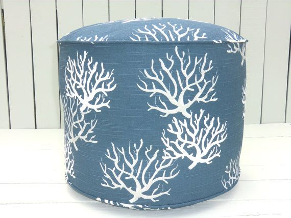 Blue Coral Pouf Ottoman 18 Round Floor Dorm Room Seating