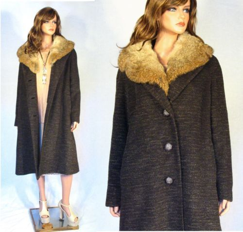 Vtg 50's 60's Wool Dress Coat Huge Rabbit Fur Collar Mad Men SML