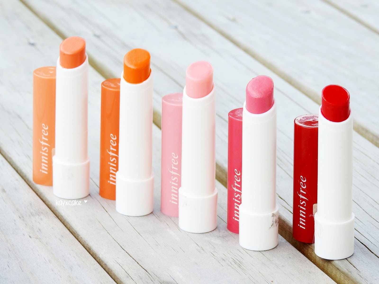Innisfree Eco Flower Tint Balm All 5 Colors Swatches Lip Balm