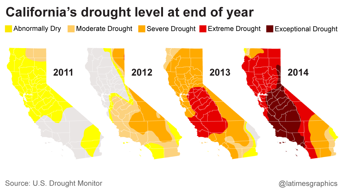 275 California drought maps show deep drought and recovery