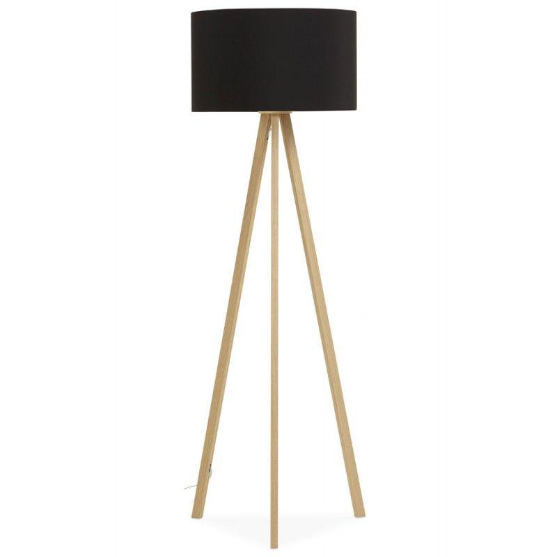 Cette lampe sur pied de style scandinave TRANI en tissu noir