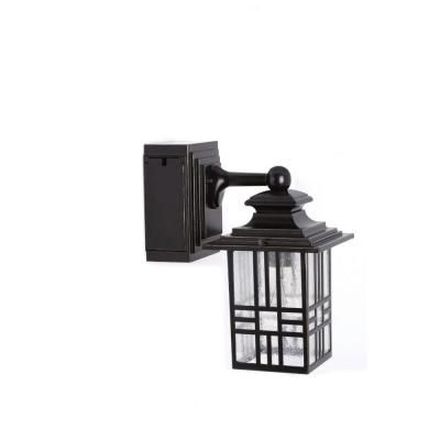 Hampton Bay Mission Style Black with Bronze Outdoor Highlight Wall Lantern  with Built-In Electrical Outlet (GFCI) - Hampton Bay Mission Style Black With Bronze Outdoor Highlight Wall