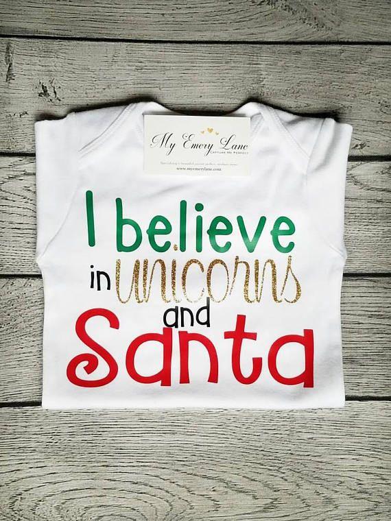 I believe in Unicorns I believe in Santa Unicorn Bodysuit  dc145591f