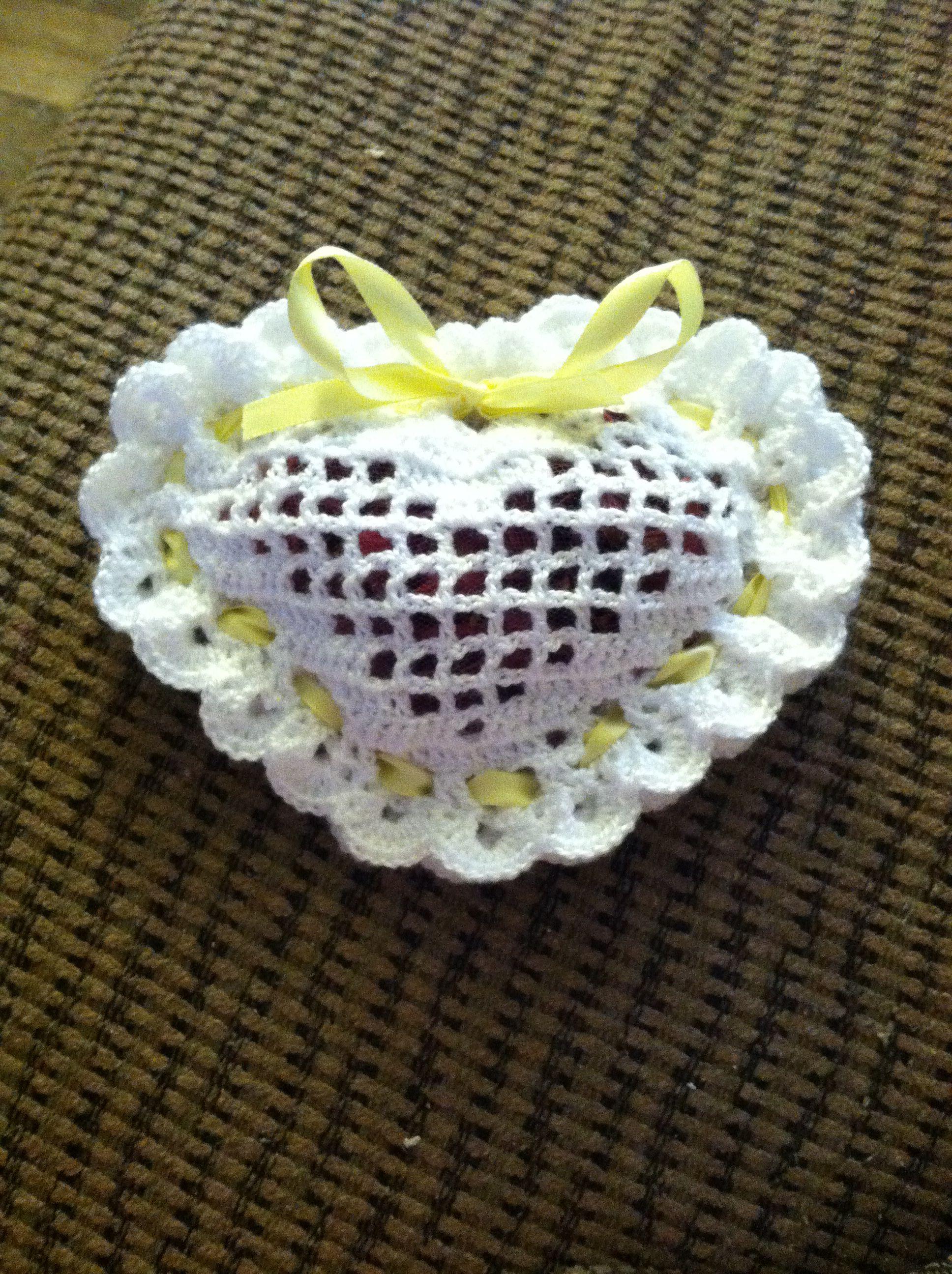 Filet crochet sachet heart w/potpourri | Crochet projects I made ...