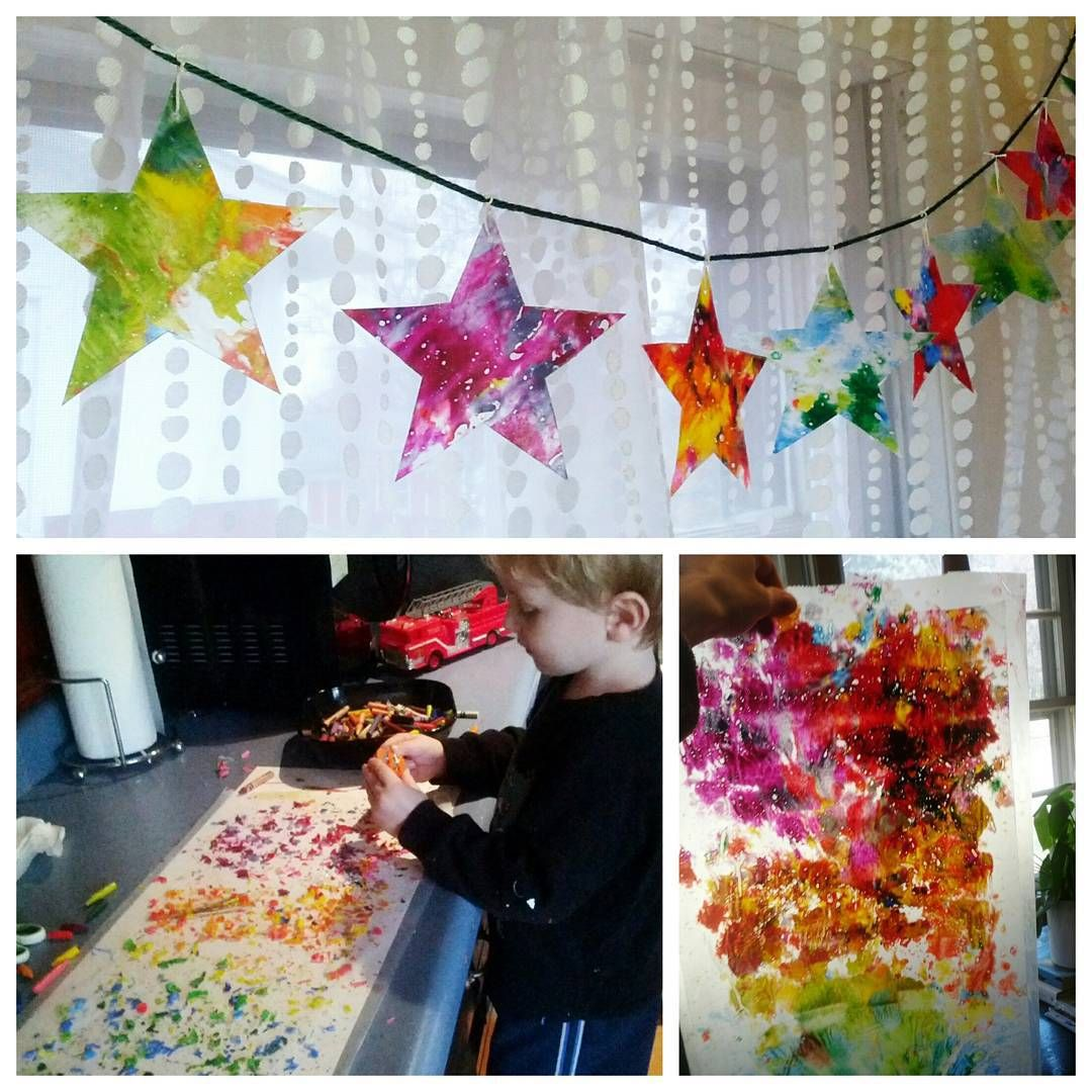 Kids Christmas Diy Paper Star Ornament Craft Uses Crayons & Wax Paper For A  Faux Stained