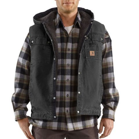 60da04cd2049 Carhartt® Men's Sherpa-Lined Hooded Vest - green, black or brown ...