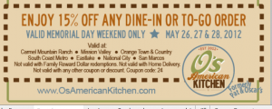 O S American Kitchen Formerly Pat Oscar S Printable Coupon