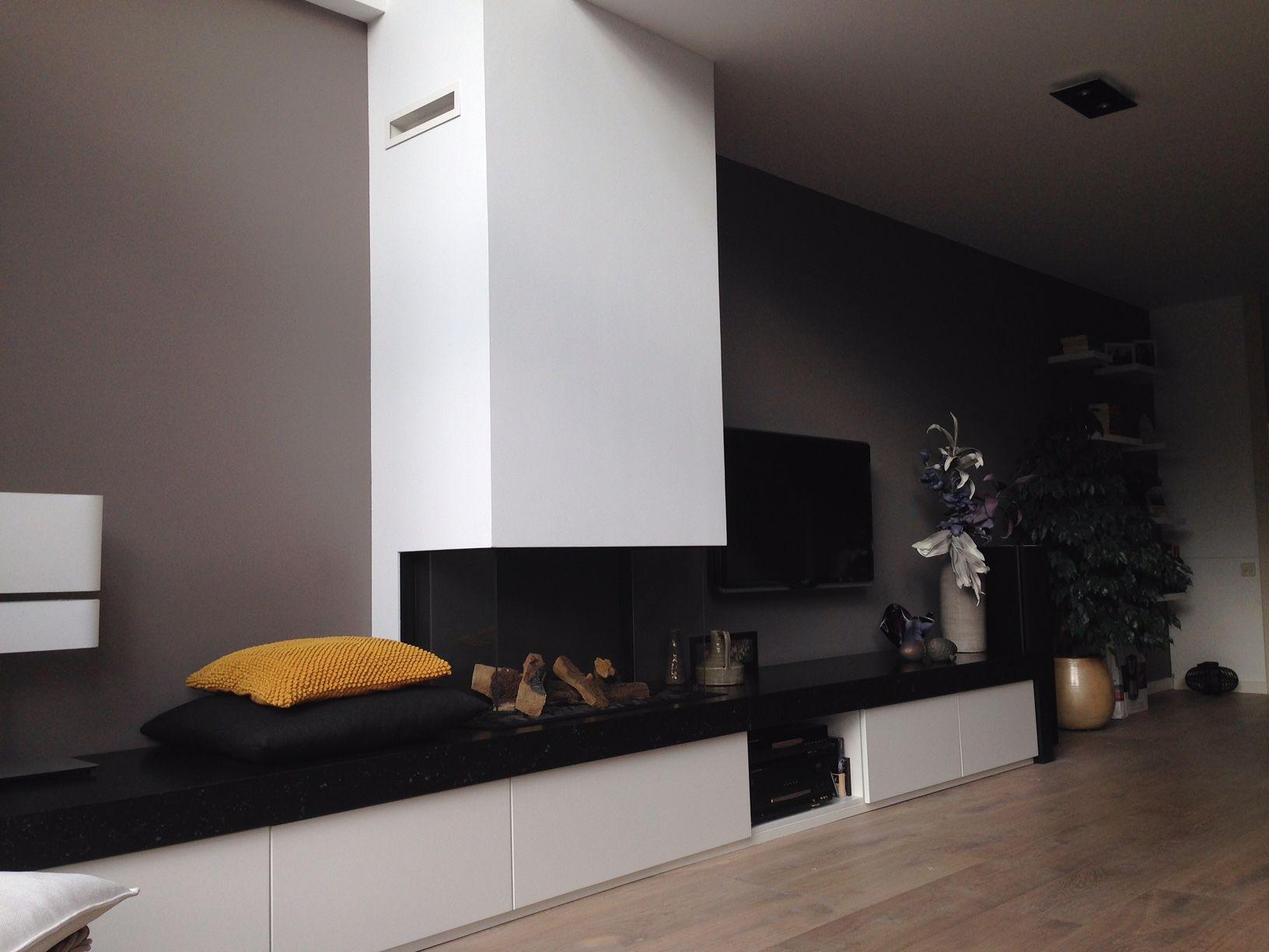 Open haard met meubel google zoeken kast haard pinterest - Deco moderne open haard ...