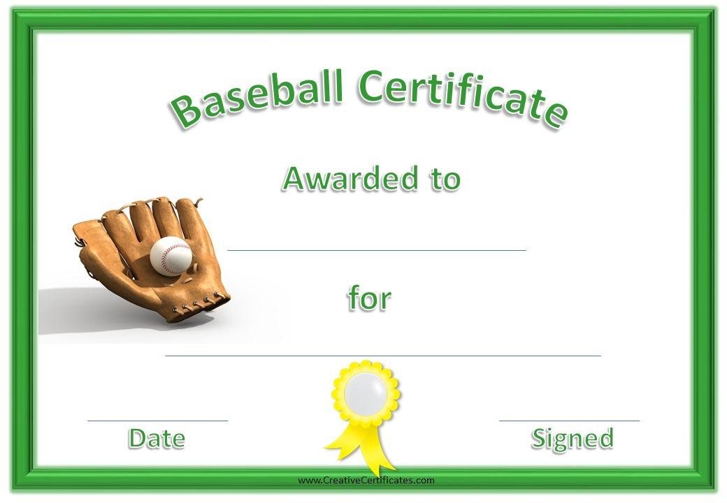 Baseball Certificate With Green Border Yellow Ribbon Baseball And