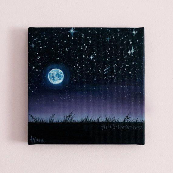 De Ciel Nocturne Ciel Etoile Pleine Lune Peinture A L Huile Sur