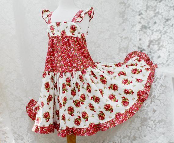 b8d282ca5da Girls Summer Dress Red Apples Girls Twirl Dress