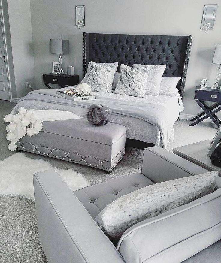 Photo of Schlafzimmer weiß, Bett schwarz