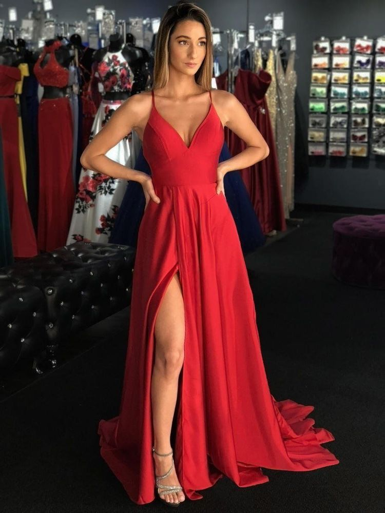 Spaghetti Straps Slit Side Prom Dress