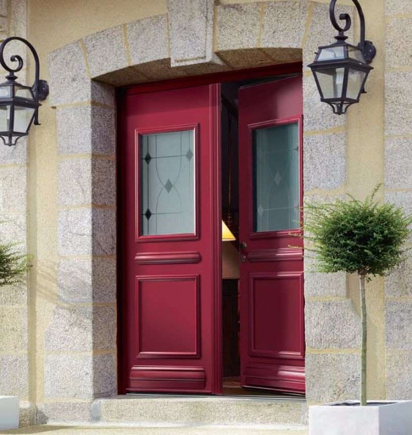 Porte d 39 entr e battants en aluminium semi vitr e for Porte entree vitree