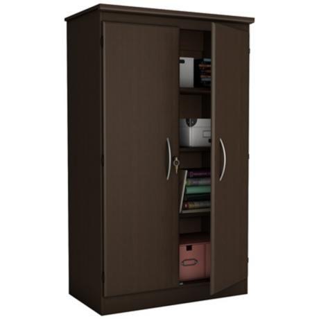 Morgan 2 Door Locking Chocolate Storage Cabinet 1c266 Lamps Plus Wardrobe Armoire Storage Office Storage Cabinets