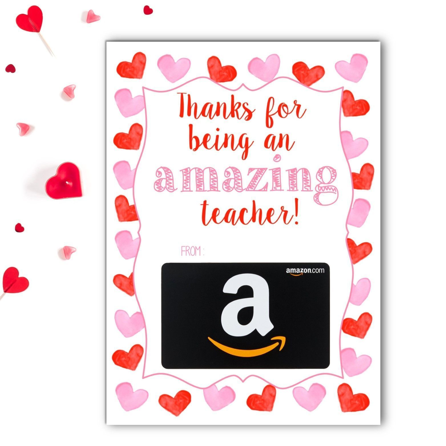 Amazon teacher valentines gift card holder rose paper