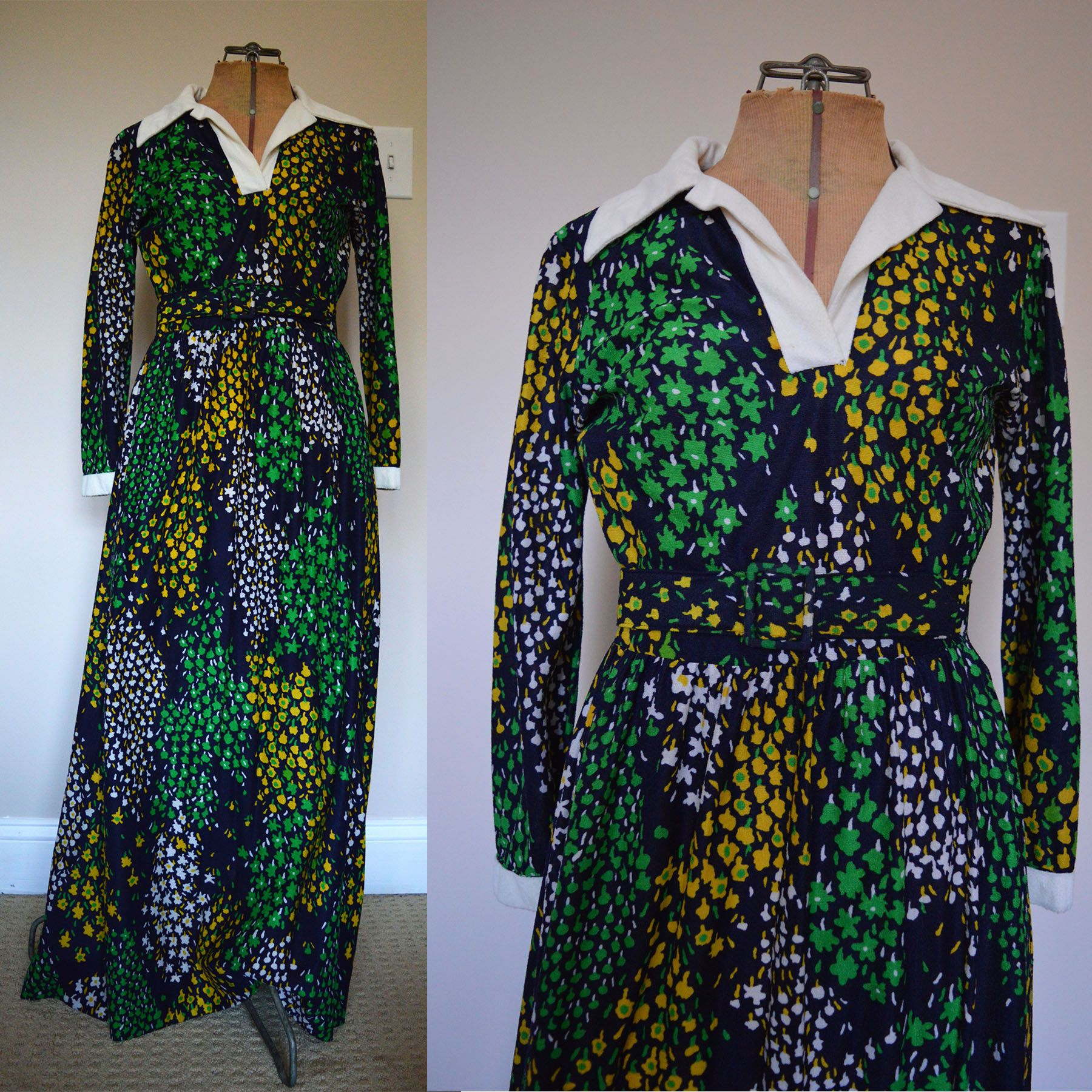 S printed knit maxi dress vintage s dress collared retro