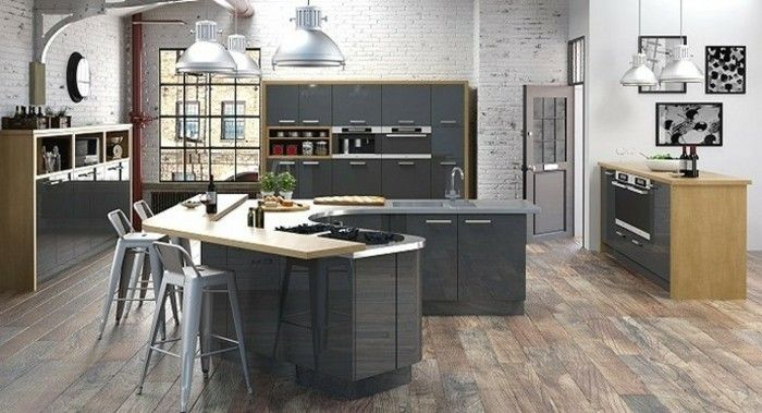 cuisine gris anthracite 56 id es pour une cuisine chic et moderne am nager pinterest. Black Bedroom Furniture Sets. Home Design Ideas