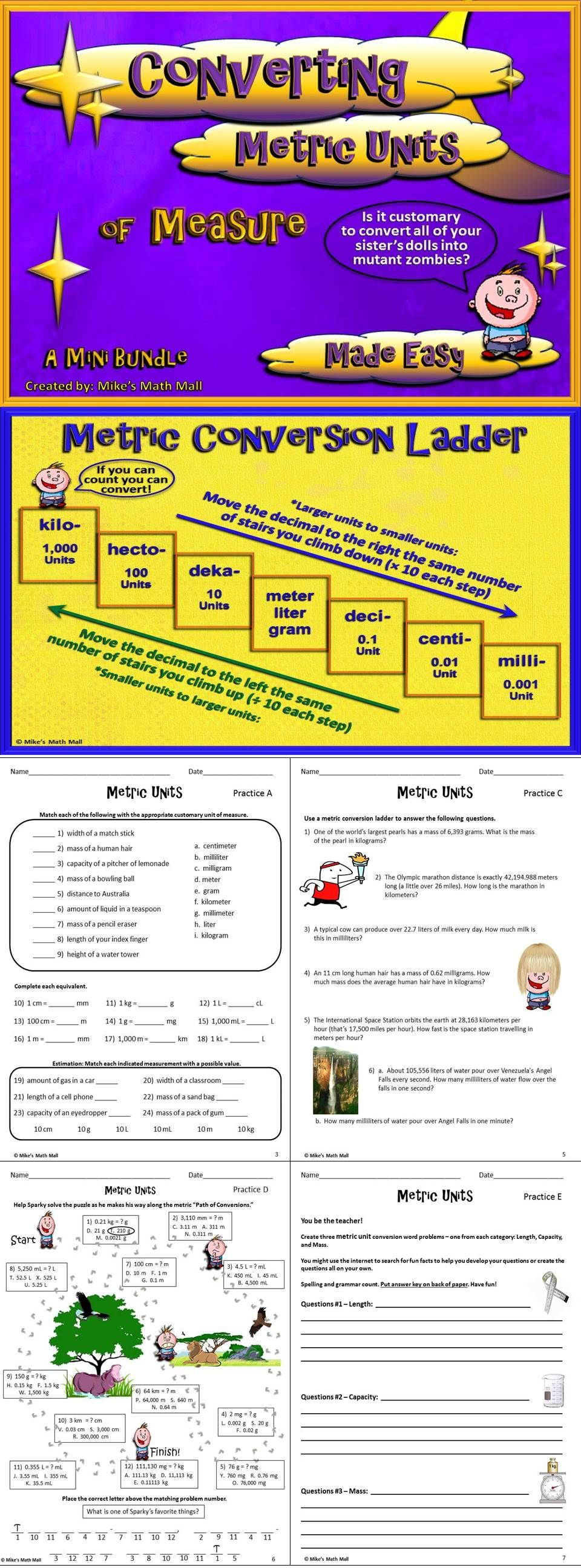 Check Out This Mini Bundle That Completely Covers The Ccss For 5 Md A 1 Converting Basic Metric Units O Converting Metric Units Math Conversions Medical Math