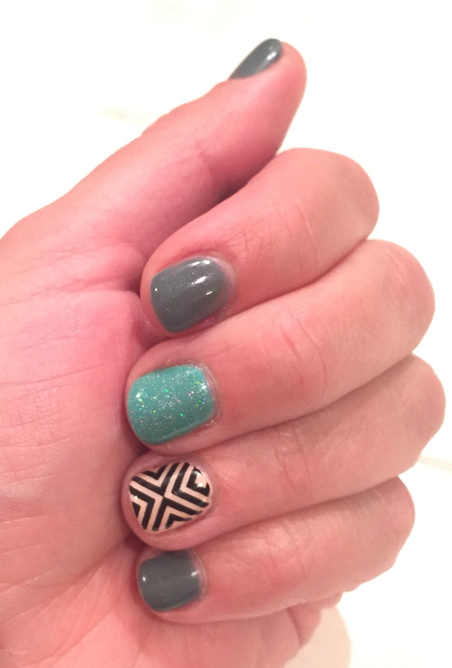 Gray Turquoise And Black Design On Light Pink Nails My Nails