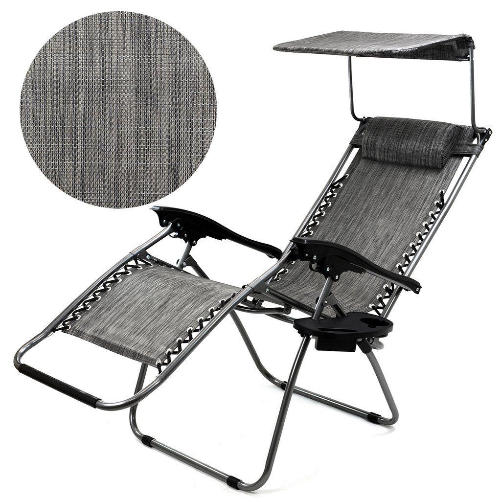 Canopy sun shade zero gravity lounge chair pillow patio
