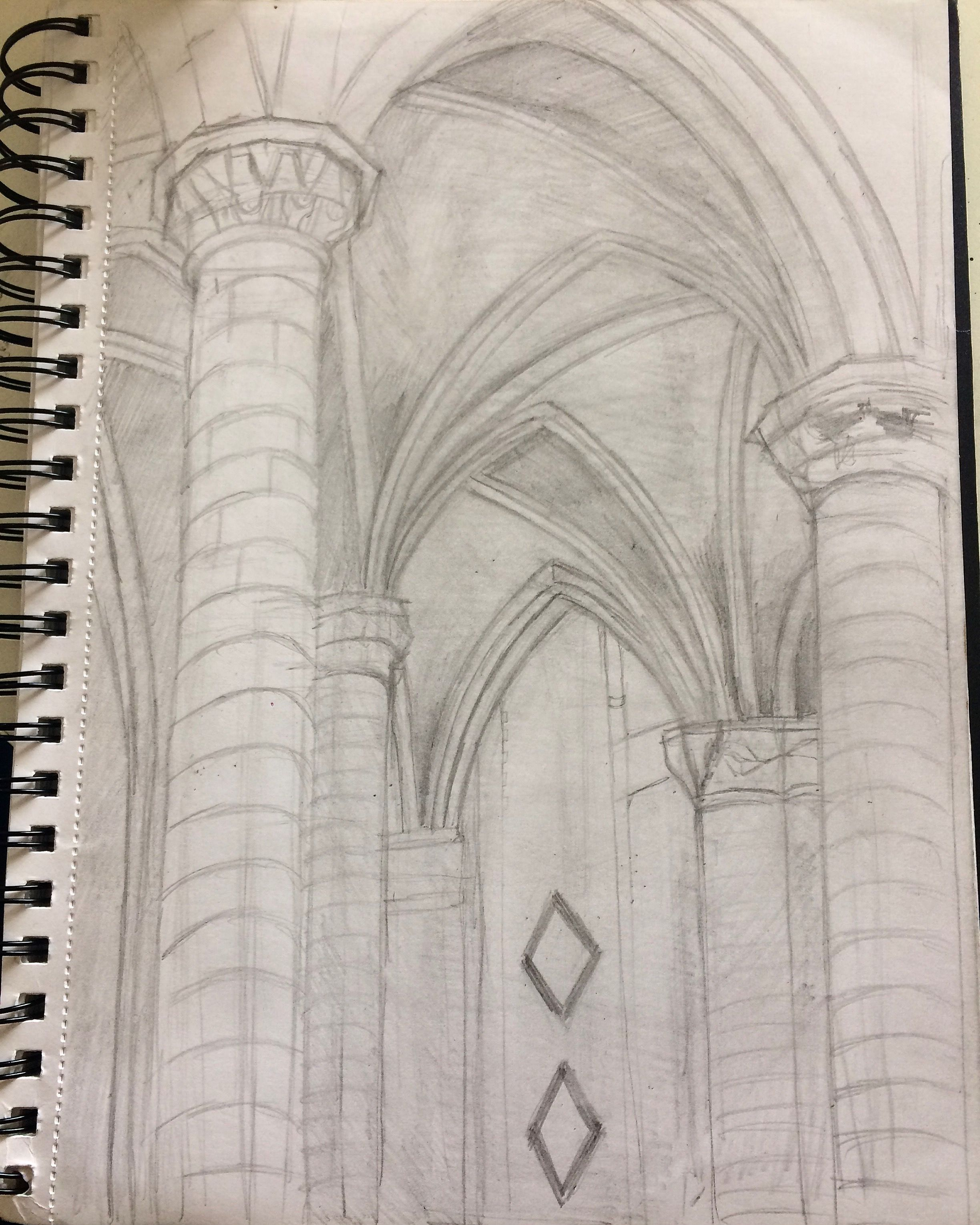 This is a pencil drawing of the ceiling of st michaels church sketched on location and worked on in my studio later a realistic and atmospheric drawing