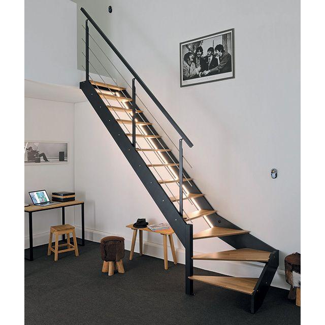 Escalier 1 4 Tournant Gauche Metal Et Bois Spark Led 13 Marches Chene Escalier Bois Metal Escalier Escalier Bois