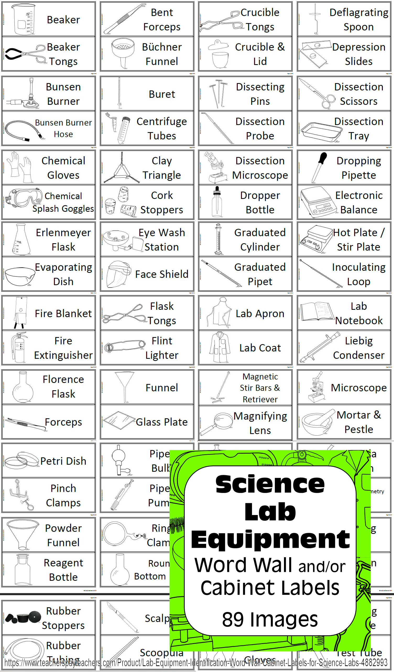 Lab Equipment Identification Word Wall & Labels