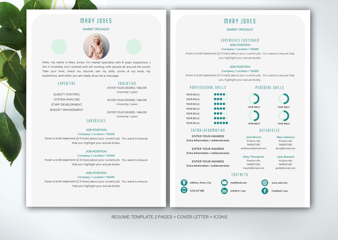 Resume Template For Ms Word By Fortunelle Resumes On