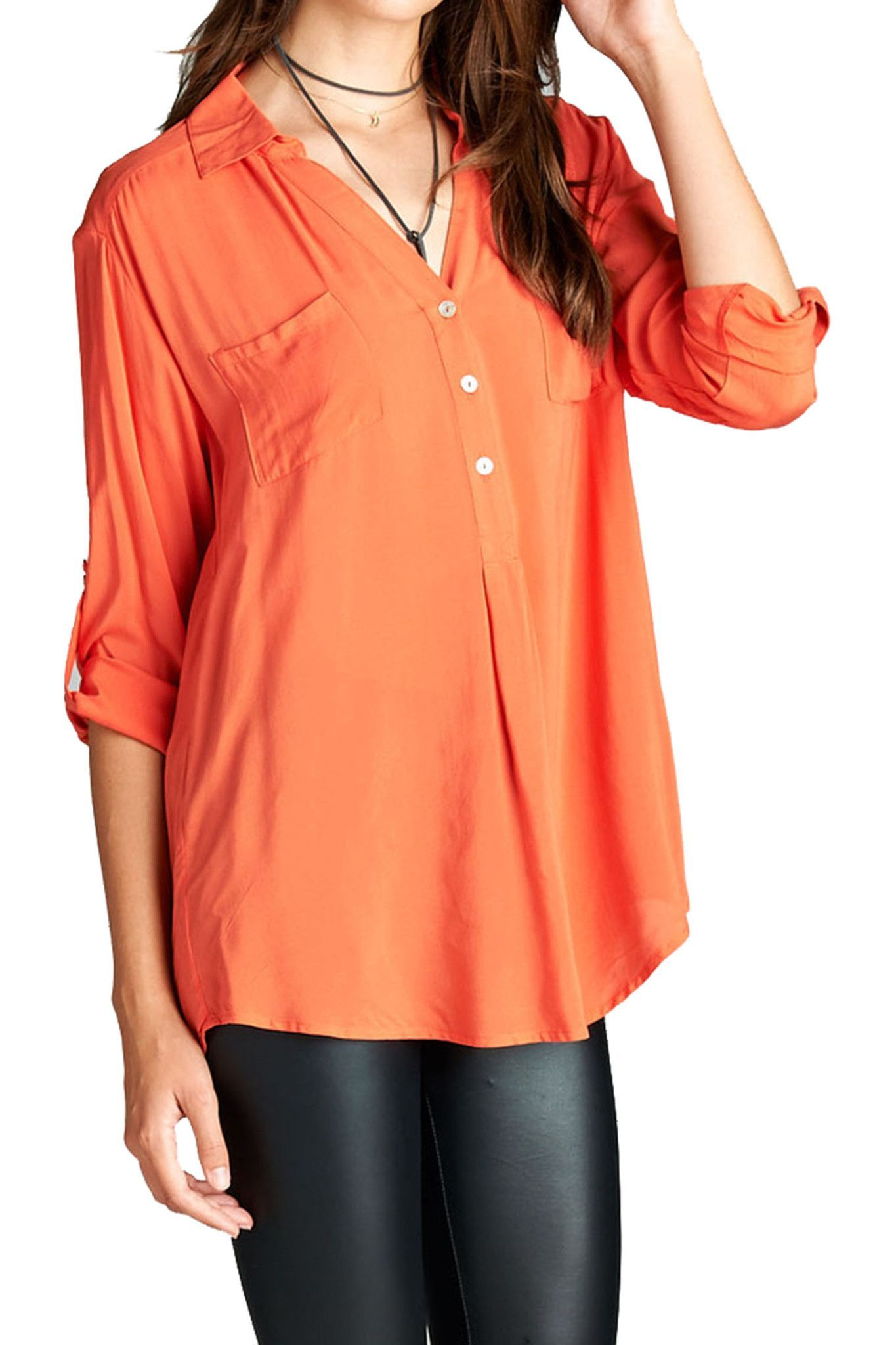 Loose Fitted Henley Top